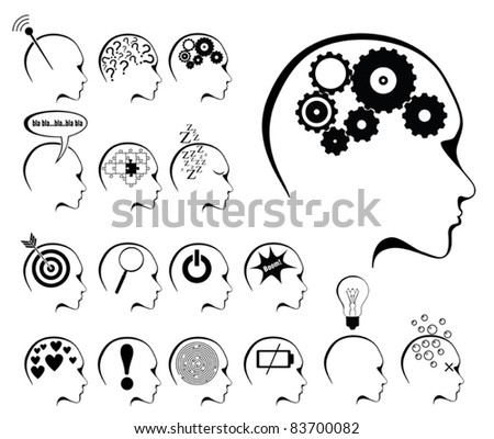 brain activity and states icon set