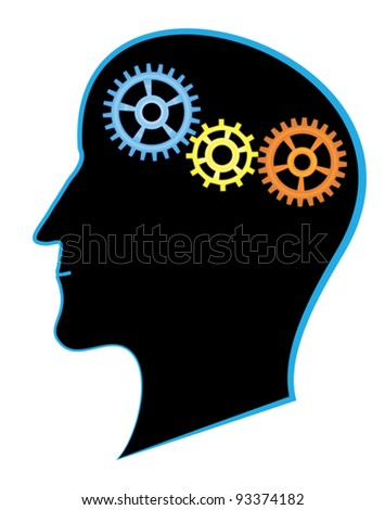 brain activity: silhouette of man head with gears - stock vector