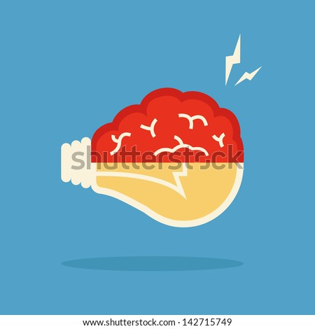 brain and bulb light, vector
