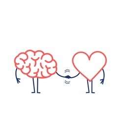Brain and heart handshake. Vector concept illustration of teamwork between mind and feelings   flat design linear infographic icon red and blue on white background