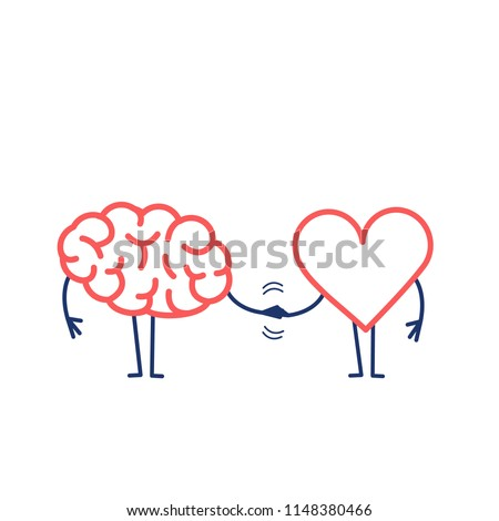 brain and heart handshake