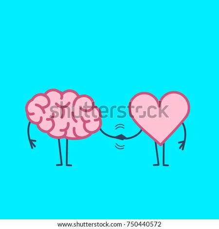 Brain and heart handshake. Vector concept illustration of teamwork between mind and feelings | flat design linear infographic icon on blue background - Shutterstock ID 750440572