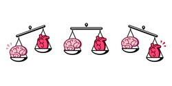 Brain and heart on scales. Balance between logic and emotion, thinking and feeling. Isolated vector clip art illustration.