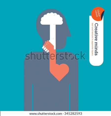 brain and heart shaking hands vector illustration eps10