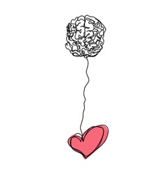 Brain and heart together logic and feelings abstract sketch vector isolated simple graphics