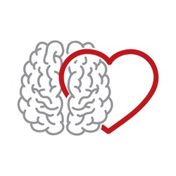 brain and heart, vector illustration