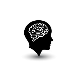 Brain and human head icon isolated on white background. Vector illustration. EPS 10.