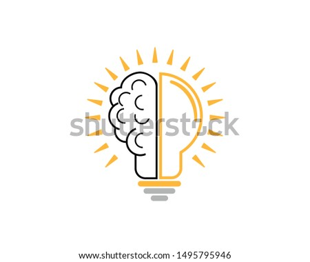 Brain and light bulb for genius icon