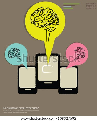 Brain and mobile phone technology,Vector