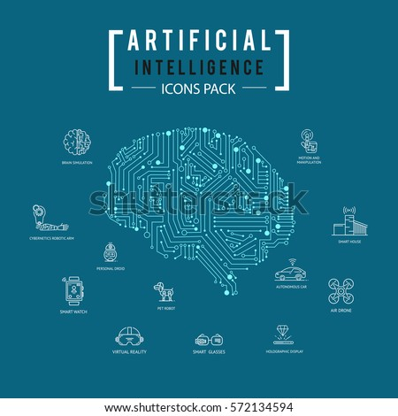 Brain artificial intelligence icon pack.