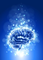brain & blue bokeh abstract light background. Vector illustration / eps10