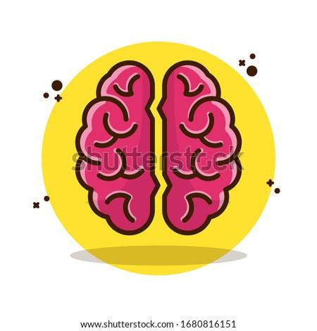 Brain, Brain logo Vector Illustration. Setmedicine, pink, brainstroming, knowledge, intellectual, smart, head. Flat Cartoon Style Suitable for Sticker, Wallpaper, Icon, etc.