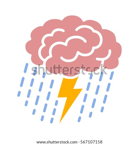 Brain brainstorm / brainstorming with lightning bolt and rain flat color vector icon for apps and websites