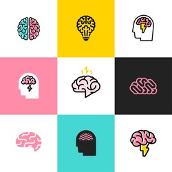 Brain, brainstorming, idea, creativity logo and icon. Set of flat line style vector illustrations