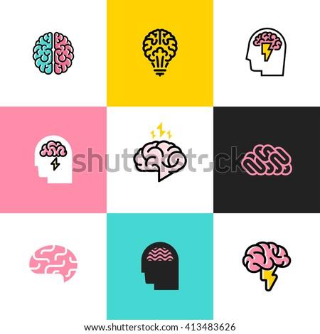 Brain, brainstorming, idea, creativity logo and icon. Set of flat line style vector illustrations