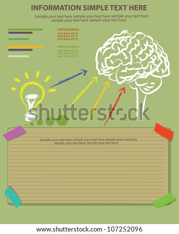 Brain, bulb light and blank paper,Vector
