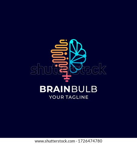 brain bulb logo vector design