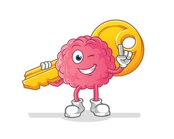 brain carry the key mascot. cartoon vector