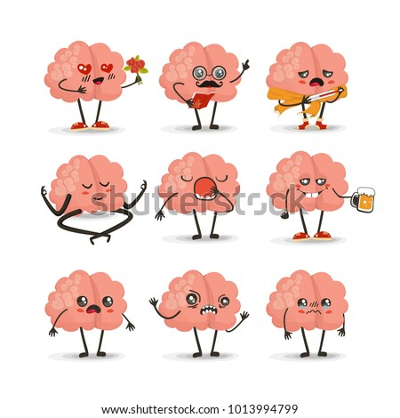 Brain cartoon character set, emotions vector illustration, emotion icons, eps 10  vector - Shutterstock ID 1013994799