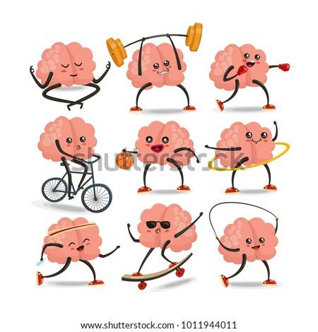 Brain cartoon character vector set. Healthy and fitness. Brain activities. Sport icons set. Vector illustration, eps 10 vector
