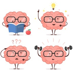 Brain cartoon set with glasses, book, dumbbells, light bulb on white background, human train intellect, knowledge, education and Brainstorm concept. Vector