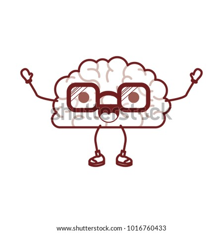 brain cartoon with glasses and cheerful expression in dark red contour