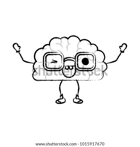 brain cartoon with glasses and eye wink expression in black blurred contour