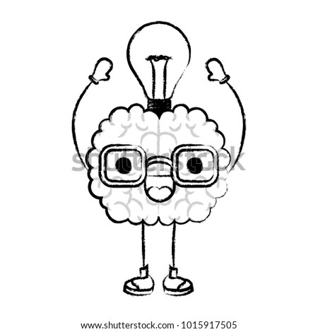 brain cartoon with glasses and light bulb on top with smiling expression in black blurred contour