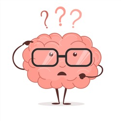 Brain cartoon with questions and glasses, human intellect thinks, Brainstorming infographic, concept of mental, isolated on white background vector