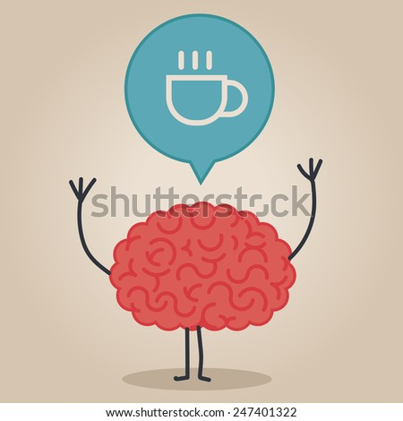 Brain character with a bubble chat coffee