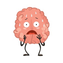 Brain character with emotion. Brain character stands scared and sweaty. Funny cartoon emoticon. Vector illustration isolated on white background
