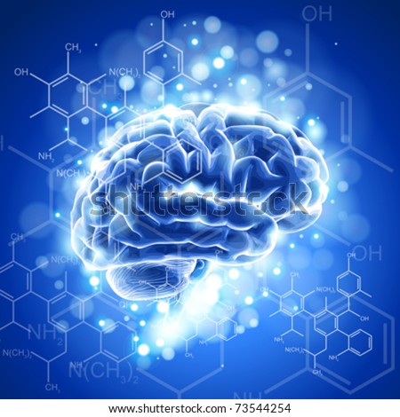 brain, chemical formulas &  lights - blue technology concept - stock vector