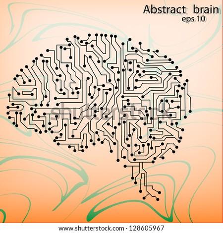 brain circuit board vector background