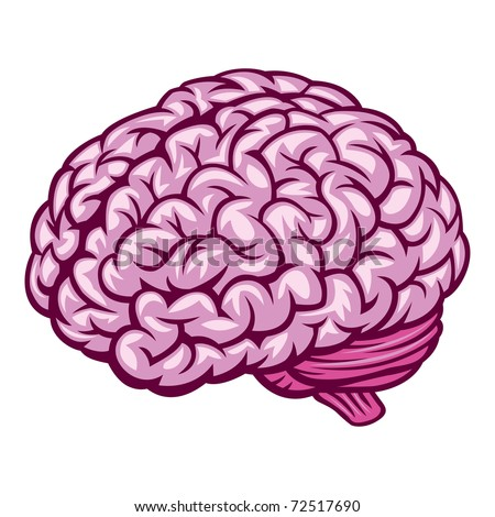 Brain. Comics Drawing. Vector Illustration