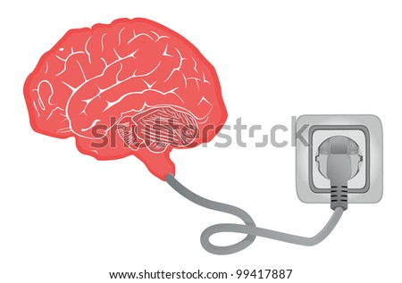 brain connecting with electric socket - vector illustration