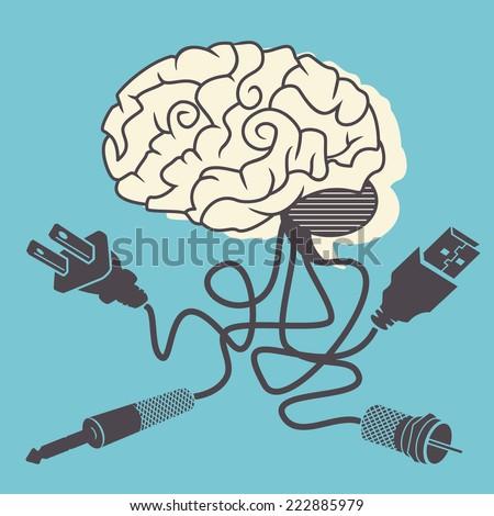 Brain connectivity, vector illustration.