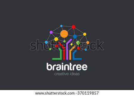 Brain Creative Ideas Logo design vector template. Brainstorming Social Logo Tree Network. Social Network Tree concept Logotype. Brainstorming icon