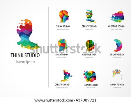 Brain, Creative mind, learning and design icons. Man head, people symbols #437089921