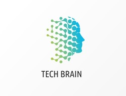 Brain, Creative mind, learning and design icons. Man head, people symbols, vector logos