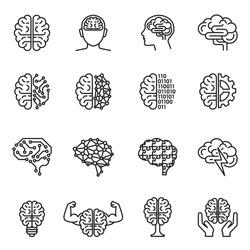 Brain, creativity, novel idea, mind or intelligence icon set with white background. Thin line style stock vector.