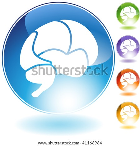 Brain crystal icon isolated on a white background.