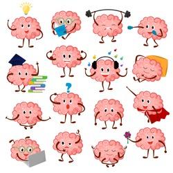 Brain emotion vector cartoon brainy character expression emoticon and intelligence emoji studying illustration brainstorming set of businessman or superman kawaii isolated on white background