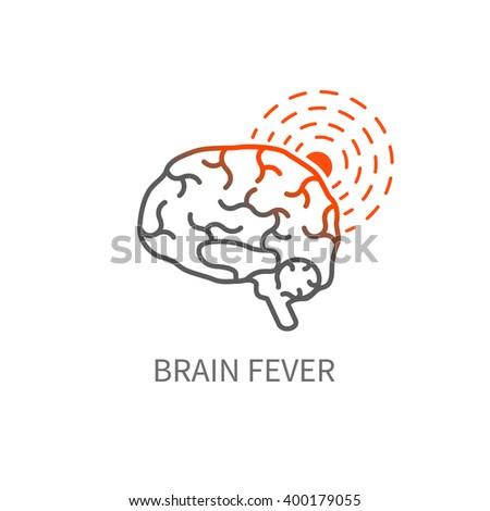 Brain fever icon. Headache vector illustration.