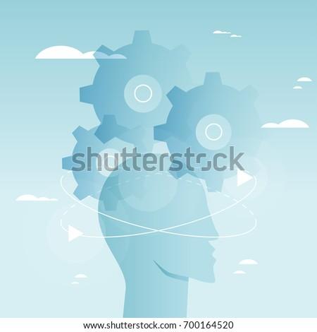 Brain functioning, problem solving, creativity, psychological processes vector illustration design