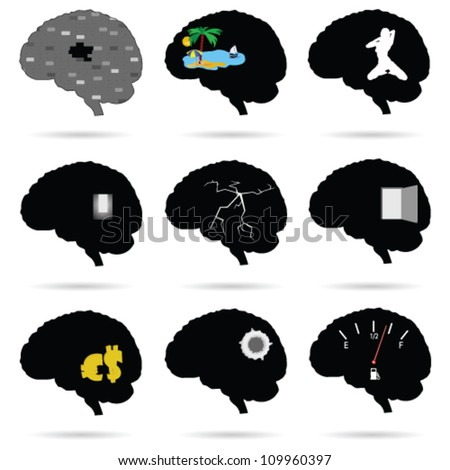 brain funny and cute vector silhouette on a white background