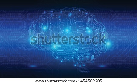 Brain Futuristic Element Circuit Board With Encoder And Decoder Binary Code Vector Background. Virtual Blue Abstract AI Brainstorm  Digital Data Security Technology Illustration. Stock foto ©