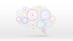 Brain gears cog creativity concept abstract vector illustration