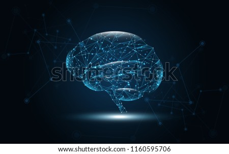 Brain human graphic digital wire dot and line vector illustration