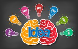 brain icon head with multiple light bulb sparking Many color idea in business. modern creativity. drawing on blackboard background. open mind. Vector illustration