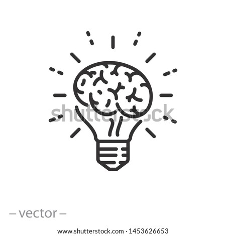 brain icon, human psychology linear sign isolated on white background - editable stroke vector illustration eps10 ストックフォト ©